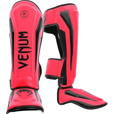 Venum Shin Guards Elite leather Muay Thai Kick Boxing MMA Sparring Shinguards