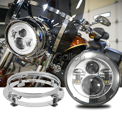 """7"""" LED Chrome Projector Daymaker Headlight + Mounting Ring Fit Harley Touring"""