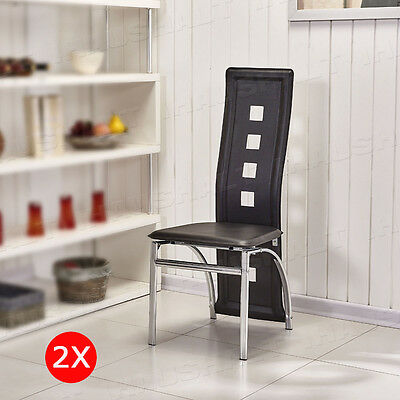 NEW 2X Black Faux Leather Dining Chairs High Back Chrome Legs Dining Room Chairs