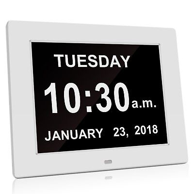 8 Inch Digital Calendar Day Clock with Automatic Backlight and Alarm Function