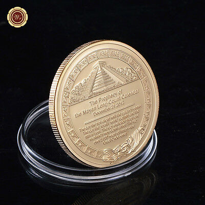 WR Prophecy of Mayan Long-count Calender Commemorative Gold Coin Maya Souvenir