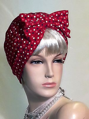 Vintage Inspired 1940s  Land Girls Style red multi Turban /Hat