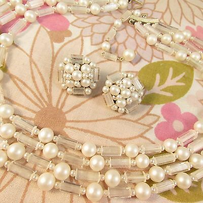 Vintage 1960s 4 Strand Faux Pearl and Clear Glass Necklace & Clip Earrings