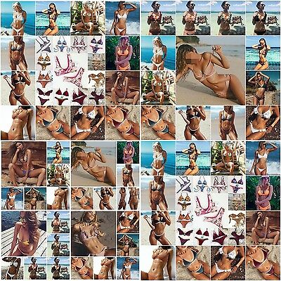 Brazilian Women Push Up Bra Bandage Triangle Top Bikini Set Swimsuit Swimwear UK
