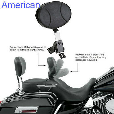 Adjustable PU Leather in Driver Rider Backrest For Harley Touring 1997-2016