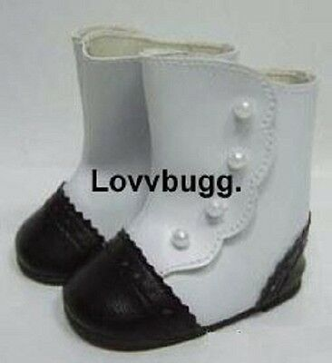 "Black and White 2 Tone Victorian Boots for 18"" American Girl n Baby Doll Clothes"