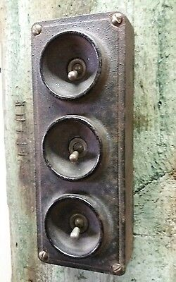 Clix Ediswan Vintage Industrial 3 Gang Metal Light Switch Not Restored TESTED