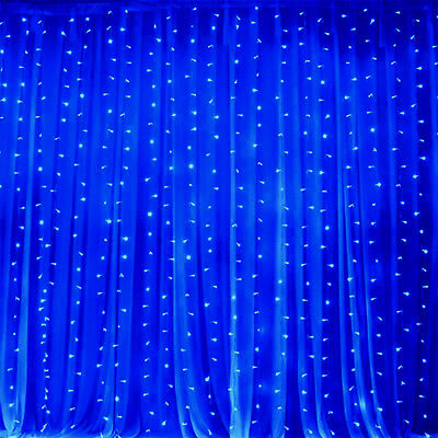 Blue LED Lights on Organza BACKDROP 20 ft x 10 ft Party Wedding Decorations