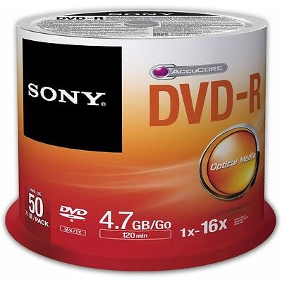 Sony DVD Recordable Media - DVD-R - 16x - 4.70 GB - 50 Pack Spindle