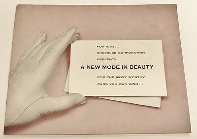 Vintage 1953 Chrysler New Mode in Beauty Auto Car Brochure Pamphlet 20 Pages