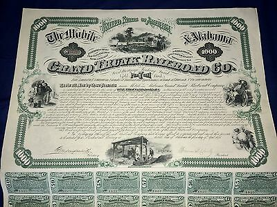 The Mobile & Alabama 1874 Grand Trunk Railroad Co. Gold Bond $1000