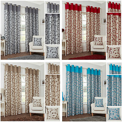 Leaf Trail Flock Top Border Lightweight Eyelet Lined Curtain Pairs - TO CLEAR