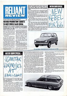 Reliant Review No 13 October 1965 UK Market Foldout Brochure Rebel Scimitar GTS