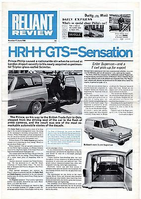 Reliant Review No 17 June 1966 UK Market Foldout Brochure Regal Scimitar GTS