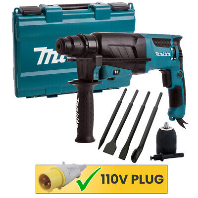 Makita HR2630 SDS+ 3 Mode Rotary Hammer Drill, Free Chisels & Keyless Chuck 110V