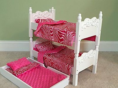 """High Quality Wooden Doll Bunk Beds w/ Trundle and Bedding for 18""""  Dolls"""