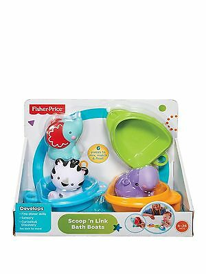 Fisher Price Scoop 'n Link Bath Boats Toy - CDC04 - New