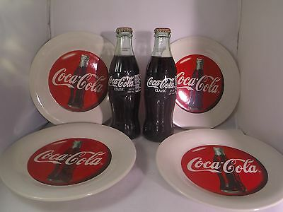 Coca-Cola Plate Set with 2 FREE Collectable Coke Bottles Vintage Gift Idea Soda