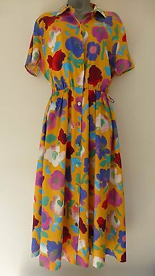 Vintage Mandy Marsh Yellow Floral Art Print Dress Size M / L