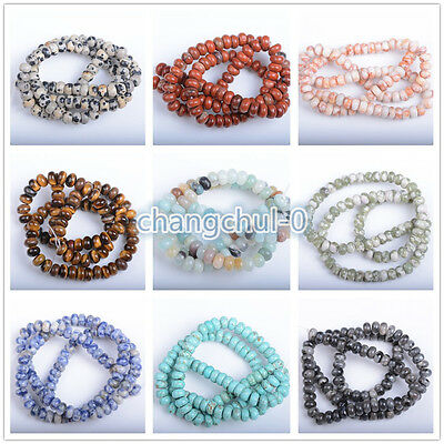 Natural Gemstone Rondelle Spacer Loose Beads Jewelry Findings 6x4MM