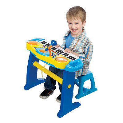 Bruin Light Up Keyboard with Stool - Blue, Kids Educational Learning Music Toy