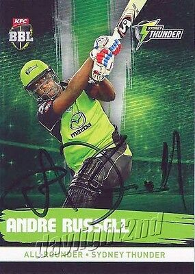 ✺Signed✺ 2016 2017 SYDNEY THUNDER Cricket Card ANDRE RUSSELL Big Bash League