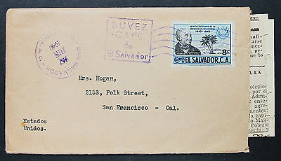 El Salvador Postal History Cover Buvez Cafe Wright Bank Note 8c EF Brief (H-8503