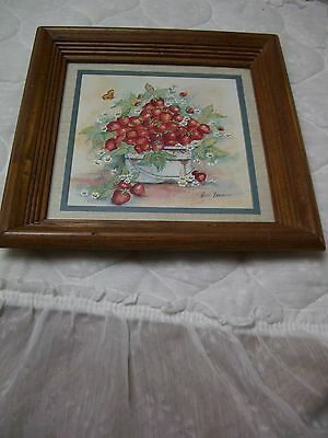 """Vintage Strawberry Bouquet Print by Ava Freeman/Wood Frame/Mat/11.5"""" Square"""