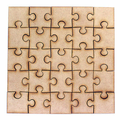 Jigsaw Piece Square MDF Craft Shapes. 4 Puzzle Size Options. Cut From 2mm MDF