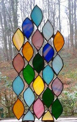 STAINED GLASS  PANEL.Leaves. Handmade by The Stained Glass Panel Studio.