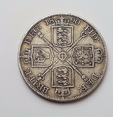 1890 - Double Florin - Four / 4 Shillings - Queen Victoria - Gb Uk Silver Coin