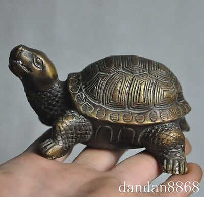 old chinese fengshui bronze lucky longevity turtle tortoise statue sculpture