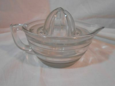 Vintage Clear Glass 2 Piece Juicer Reamer Bowl with Handle & Spout Nice