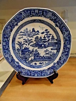 "9 1/4"" Vintage Blue Willow Octagon Plate - Unknown - As Is"