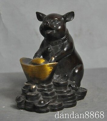 Chinese bronze gilt Ingots wealth zodiac year pig auspicious statue sculpture