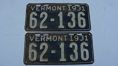 1931 Pair of Vermont License Plates # 62-136