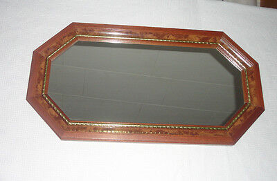 Home Interiors Octagon '' Wood '' MIRROR '' Hang H or V Gorgeous 12'' x 23''