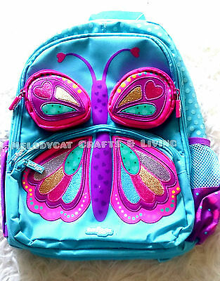 """New! Smiggle Girl's """"3D"""" Backpack School Bag - Pink Butterfly"""
