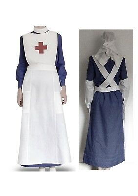 WW1 WWI VAD Red Cross Nurse Uniform Costume Handmade Dress Apron Veil oversleeve