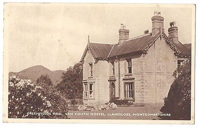 LLANIDLOES Greenfields Hall, Van Youth Hostel, Old Postcard Postally Used 1953
