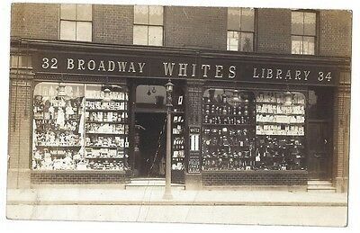 SHOP FRONT RP Postcard, Whites, Broadway Library, Possibly Ealing, Unused