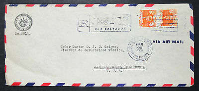 El Salvador Registered Airmail Cover Presidential Stamp 1946 Lupo Brief (H-8523+