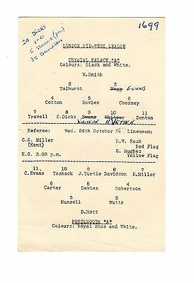 Crystal Palace v Portsmouth Reserves Programme 24.10.1956 VERY RARE Midweek Leag