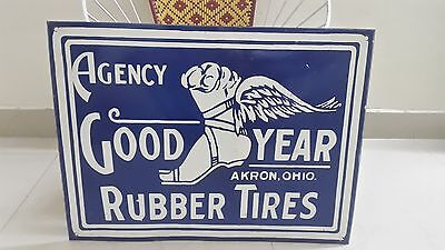 GOOD YEAR RUBBER TIRES AGENCY PORCELAIN ENAMEL SIGN 24 x 18 INCHES