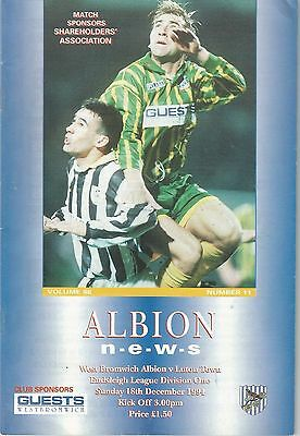 West Bromwich Albion v Luton Town, 18 December 1994, Division 1