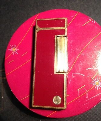 DUNHILL LIGHTER SWISS RED AND GOLD 70g WEIGHT