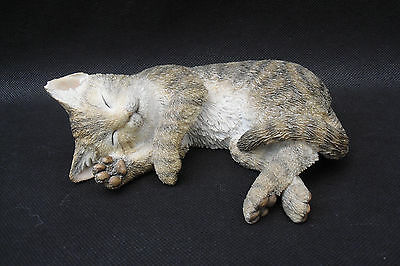 Tabby Kitten Asleep cat ornament by Country Artists hand painted
