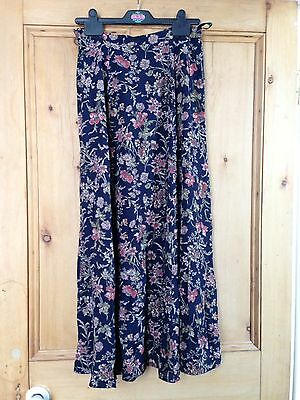 Vintage 90's Laura Ashley Navy Floral Skirt Size 12