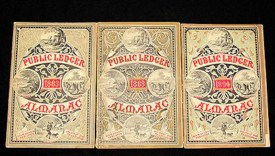 3 Issues Public Ledger Almanac Years 1883, 1888 & 1890