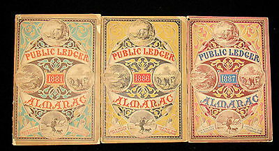 3 Issues Public Ledger Almlanacs Years 1881, 1886, and 1887 George Childs